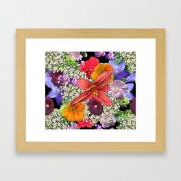 Newt in multi color floral Framed Art Print