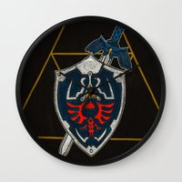 shield Wall Clocks featuring Shield  by Jennifer Dillon