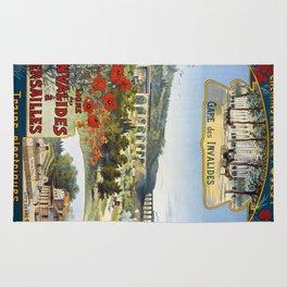 Ligne des Invalides a Versailles, French Travel Poster Rug