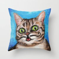 lil bub Throw Pillows featuring Lil Bub - Cats with Moustaches by Megan Mars