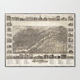 Vintage Pictorial Map of Saginaw Michigan (1885) Canvas Print