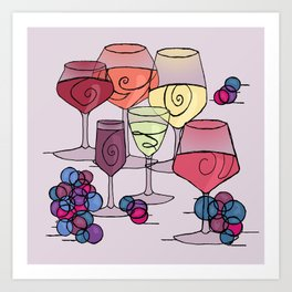 Wine and Grapes v2 Art Print