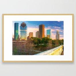 Downtown Houston Texas City Skyline Framed Art Print