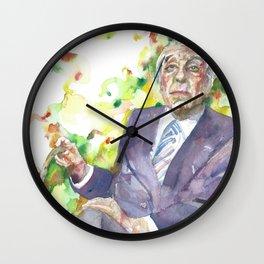 BORGES - watercolor portrait.3 Wall Clock