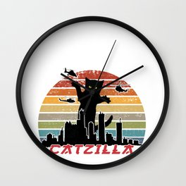 Catzilla I Cat Japanese City Funny Costume product design Wall Clock