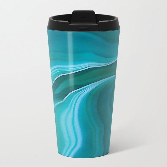Agate sea green texture Metal Travel Mug