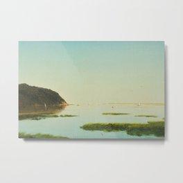 Shrewsbury River, New Jersey Salt Ponds with Sailboats nautical landscape painting by John Frederick Kensett  Metal Print