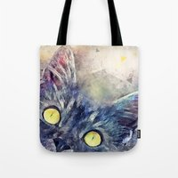 kitty Tote Bags featuring Kitty by jbjart