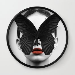 BLACK BUTTERFLY Wall Clock