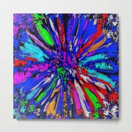 Blue Dahlia Flower Abstract Mosaic Metal Print