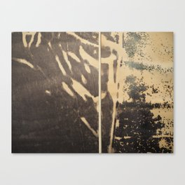 Ink drawing - edges of two abstract prints Canvas Print