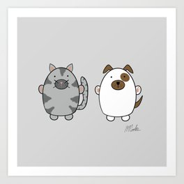 Cats and Dogs on grey Art Print