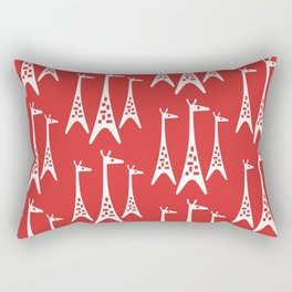 Mid Century Modern Giraffe Pattern 221 Red Rectangular Pillow