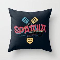 Spatula City! (open edition) Throw Pillow
