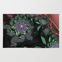 novelty Area & Throw Rugs featuring Lilac Fractal Garden by Moody Muse