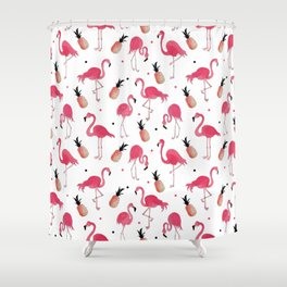 Flamingo and Pineapple Tropical Pattern Shower Curtain