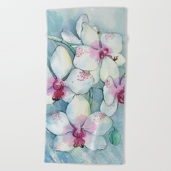 Orchids 01 Beach Towel