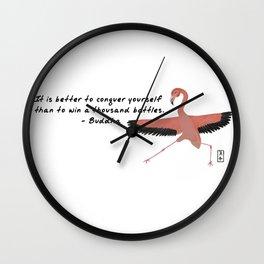 Flamingo Zenimal with Buddha Quote Wall Clock