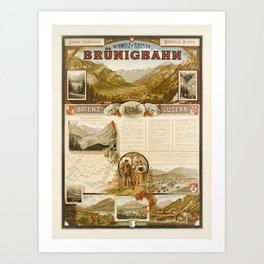 Retro Placard jura simplon brunig bahn brienz luzern bernese oberland Art Print