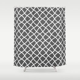 Dark gray and white curved grid pattern Shower Curtain