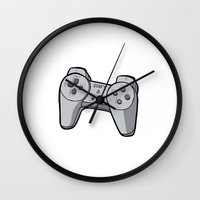 playstation Wall Clocks featuring Playstation controller by Matt Ellero
