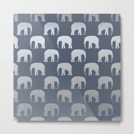 Blue & Silver Elephants  Metal Print