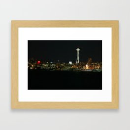 The Space Needle (At Night) Framed Art Print