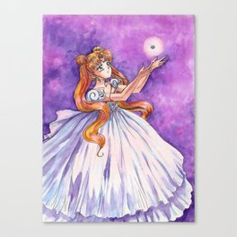 Princess Serenity with Illusion Silver Crystal Canvas Print