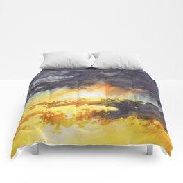Watercolor Sky No 5 - colorful rain clouds Comforters