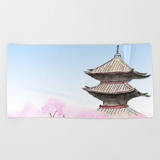 Temple and sakura Beach Towel