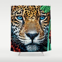 Leopard Hiding Shower Curtain