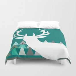 Deer Head Geometric Triangles | teal turquoise Duvet Cover