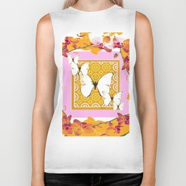 White Butterflies Orchid Sprays Purple Lilac-Gold Patterns Biker Tank