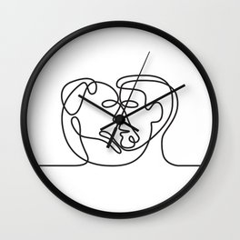 Man and Dog Face Side Continuous Line Wall Clock
