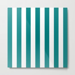 Vertical Stripes (Teal/White) Metal Print