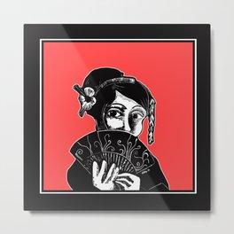 Geisha Red and Black Art Metal Print