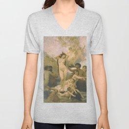 Birth of Venus by William Bouguereau Unisex V-Neck