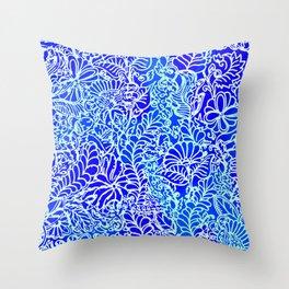 Jungle Garden, Blue Throw Pillow