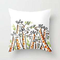 Giraffe Banquet Throw Pillow
