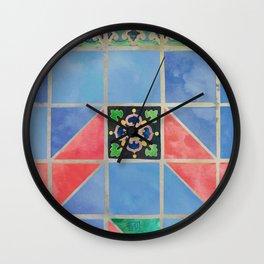 Fredericksburg Texas Vintage Ceramic Tile Pattern - Blue & Red Wall Clock