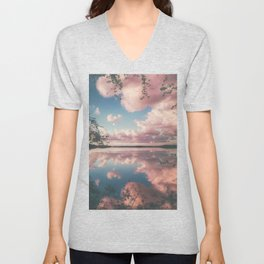 Lake and Pink Clouds Unisex V-Neck