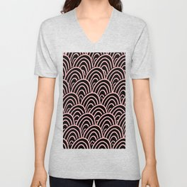 Abstract Scales (Coral on Black) Unisex V-Neck