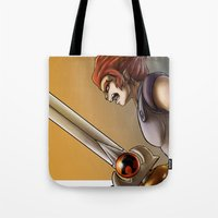 thundercats Tote Bags featuring Leon-O by Sabina  Daldovo