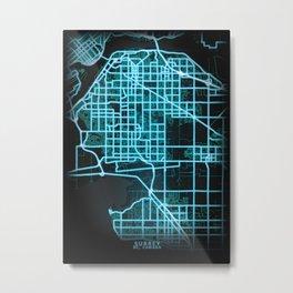 Surrey, BC, Canada, Blue, White, Neon, Glow, City, Map Metal Print