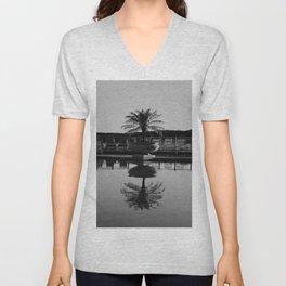 Tropical Reflection (Black and White) Unisex V-Neck