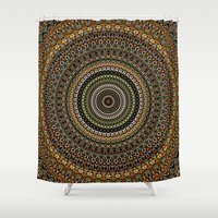 study Shower Curtains featuring Fractal Kaleido Study 001 in CMR by Charma Rose