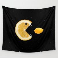 lemon Wall Tapestries featuring Lemon eats lemon by Boriana Giormova