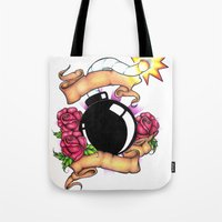 bombs away Tote Bags featuring Bombs Away by 'Til Death Designs