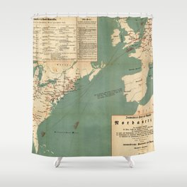 Vintage German US Immigration Map (1853) Shower Curtain