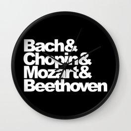 Bach and Chopin and Mozart and Beethoven, sticker, circle, black Wall Clock